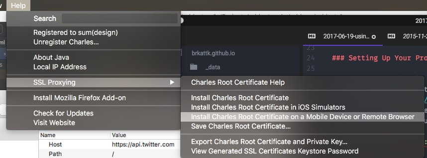 Help > SSL Proxying > Install Charles Root Certificate on a Mobile Device or Remote Browser